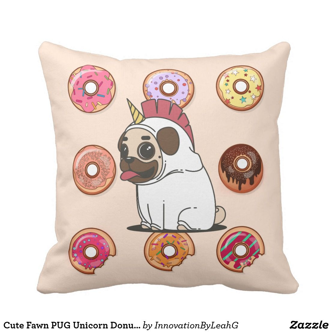 Cute fawn pug dressed as a unicorn eating donuts throw pillow