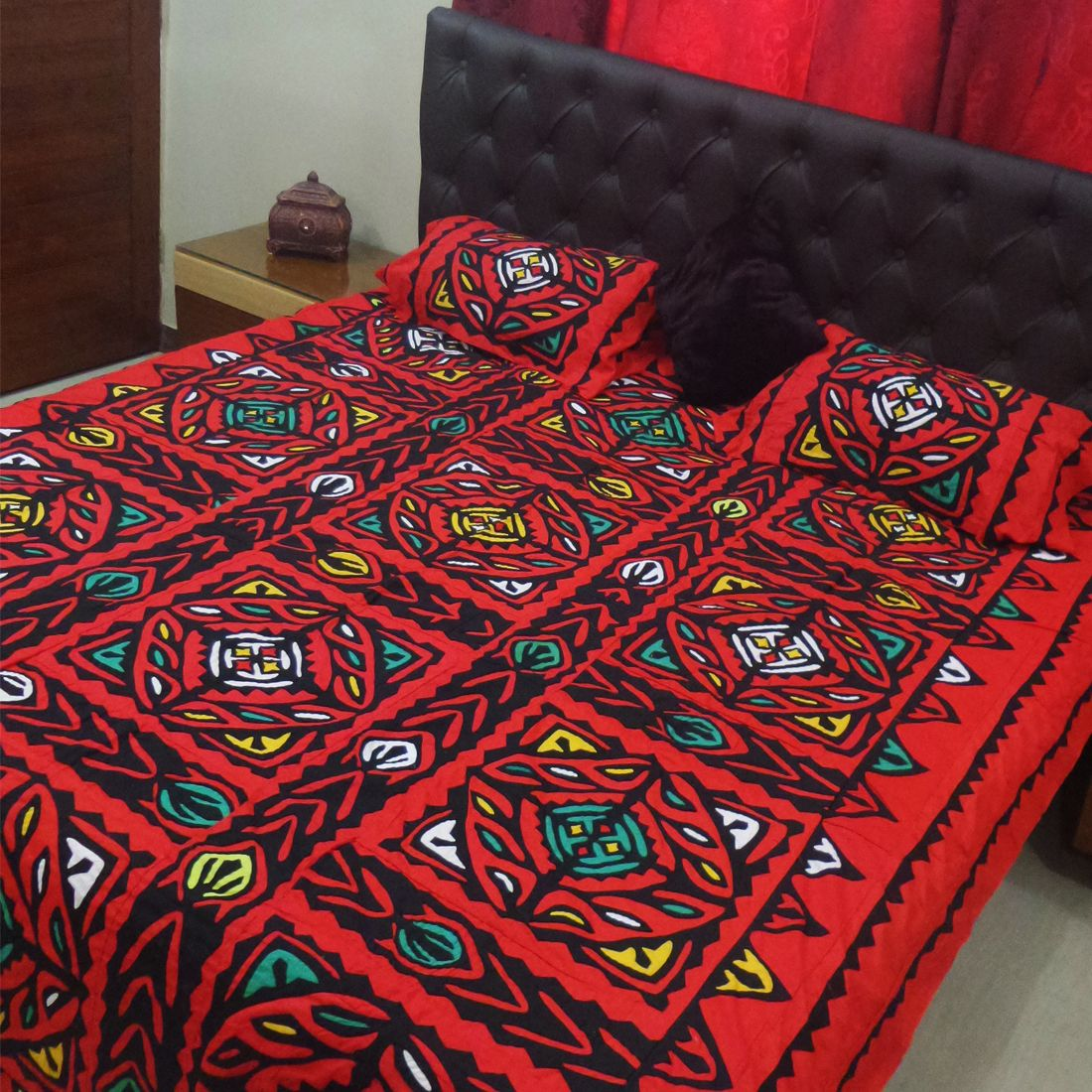 Handmade bed sheets design - Aman Jee Sindhi Cultural Handmade Aplic Ralli Bed Sheet Now Available Www Pehnlo