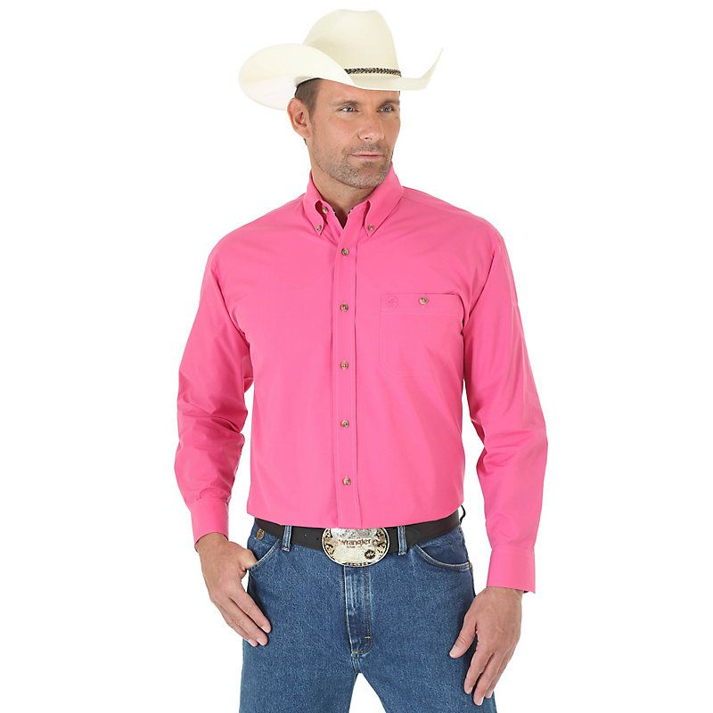 5625625d73d Wrangler Men's George Strait Collection Long Sleeve Button Down Solid Shirt  (Size: Medium) Pink