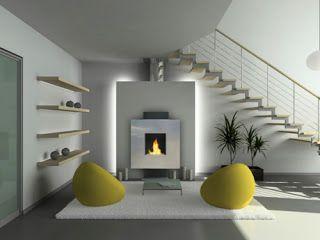 Moderne Kamin Mit Hintergrundbeleuchtung In Der Wand Unter Der Treppe In  Einem Hellen Raum