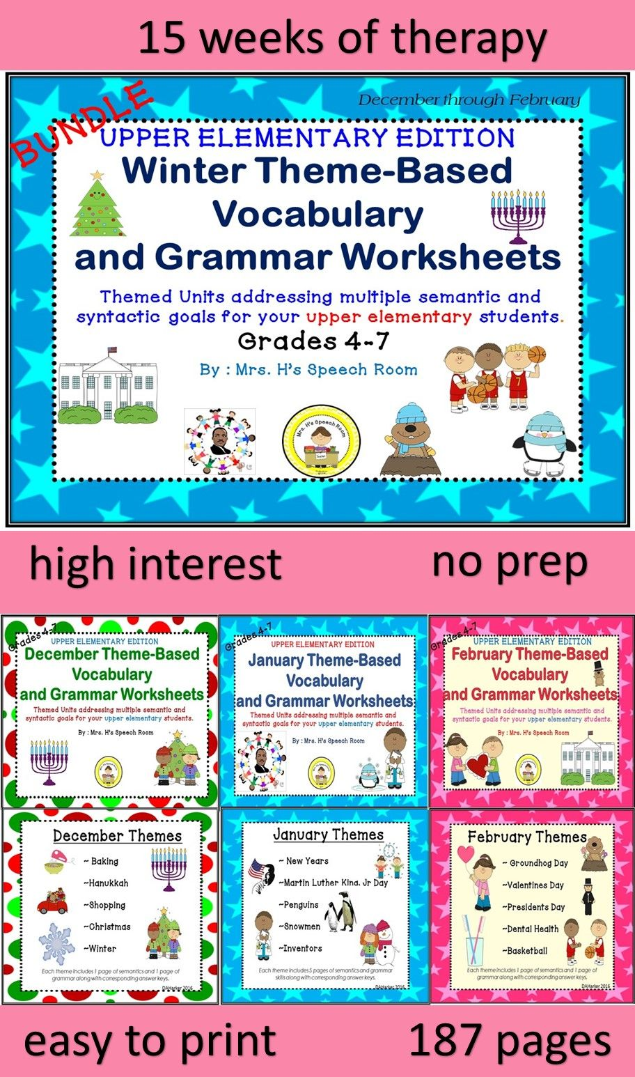 15 Weeks Of Themed Therapy Great For 4th Grade And Up Students Who Require Word Banks Foils Provide A Highe Winter Speech Therapy Speech Therapy Vocabulary [ 1546 x 912 Pixel ]