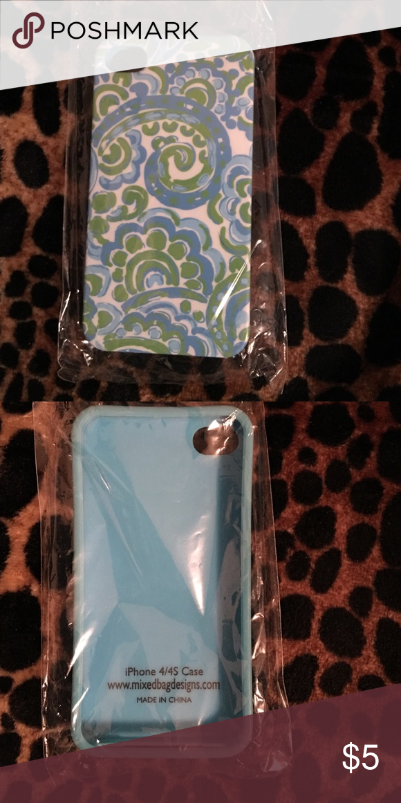 Silicon iPhone 4/4S blue green swirl case new New case that was misplaced and found a little too late.  New. Accessories Phone Cases