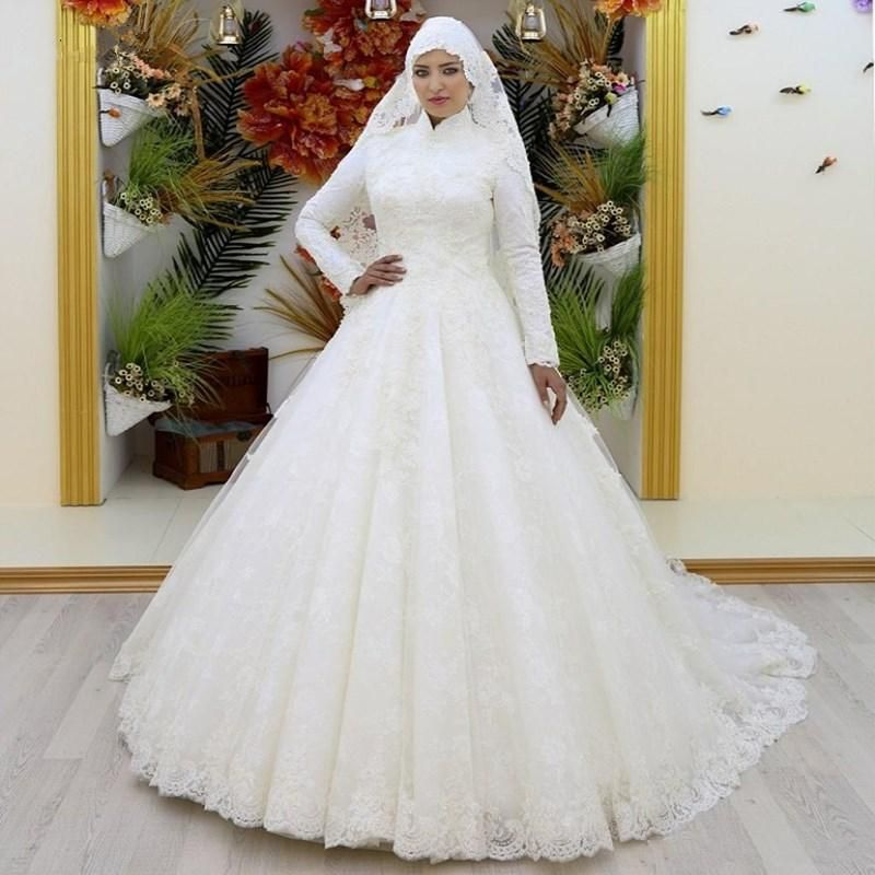 Luxury Muslim Long Sleeve Lace High Neck Applique Ball Wedding
