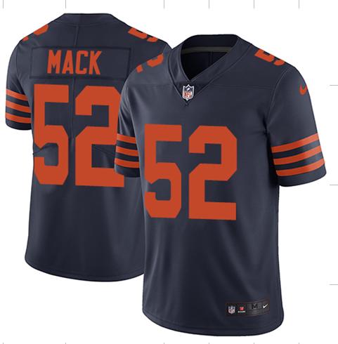 Men S Chicago Bears 52 Khalil Mack Navy Throwback Vapor Untouchable Limited Stitched Nfl Jersey In 2020 Nfl Jerseys Jersey Nfl