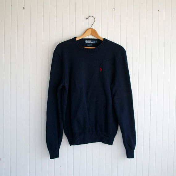 Retro Navy Ralph Lauren Polo Sweater - M