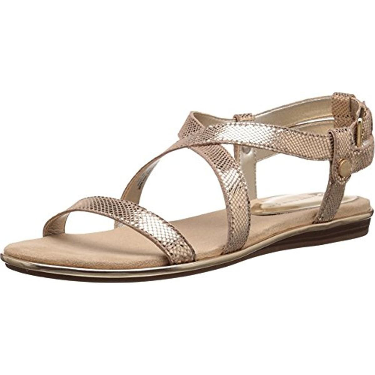 Anne Klein Womens Garlyn Leather Embossed Slingback Sandals