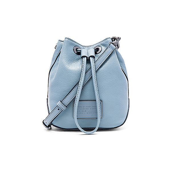 Marc by Marc Jacobs Too Hot To Handle Drawstring Bucket Bag Bags (€215) ❤ liked on Polyvore featuring bags, handbags, shoulder bags, hand bags, blue leather purse, blue leather shoulder bag, blue shoulder bag and purse shoulder bag