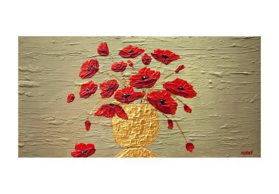 Textured Red Poppies Abstract Painting Modern Flowers Wall Art Modern Poppies In Gold Vase Painting Poppies In Vase Painting Osnat In 2020 Malen