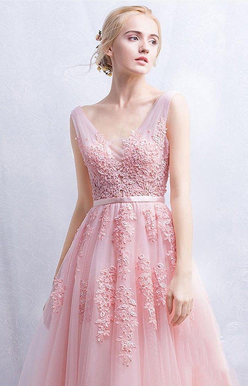 Amazon.com  Babyonline Women s Double V-neck Tulle Appliques Long Evening  Cocktail Gowns  Clothing ce70dc1ee4c1