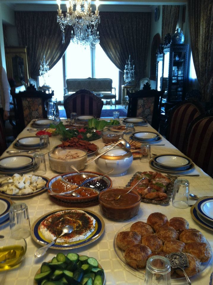 A Common Table Setting of Middle Eastern Foods