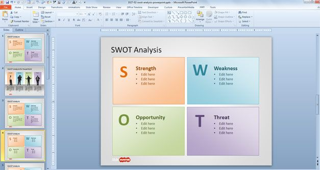 SWOT Analysis Slide Design with SWOT letters in the presentation - microsoft swot analysis template