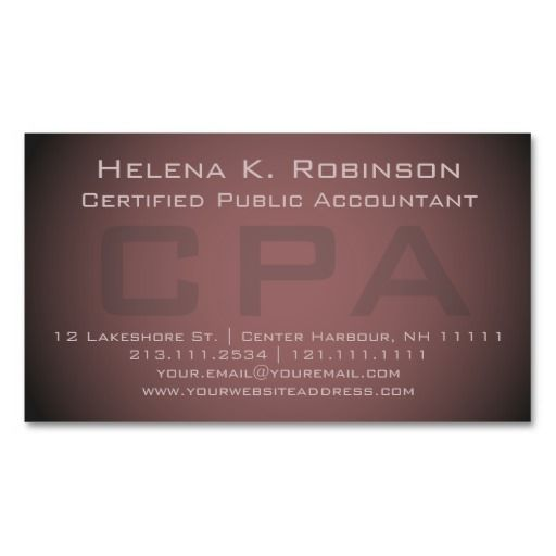 Elegant Cpa Certified Public Accountant Business Card Zazzle Com Certified Public Accountant Accounting Freelance Business Card