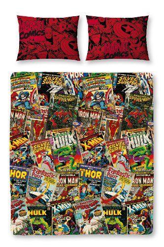 Marvel Comics Retro Reversible Double Duvet Cover with Matching Pillow Case Bedding Set