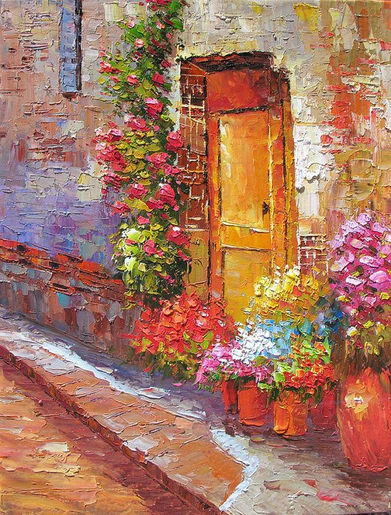 The Back Door 23 X 30 Original Oil Painting Palette Knife Textured Street Door Flowers Sun by MArchella