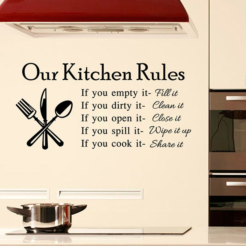 Kitchen rules living room vinyl wall stickers for kids sticker quote heart the home love art