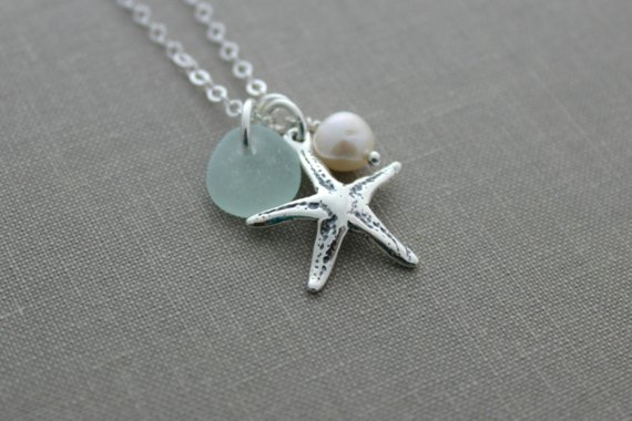 Seastar Necklace Sterling Silver Starfish Necklace with Genuine Sea Glass and Freshwater pearl Personalized Beach jewelry