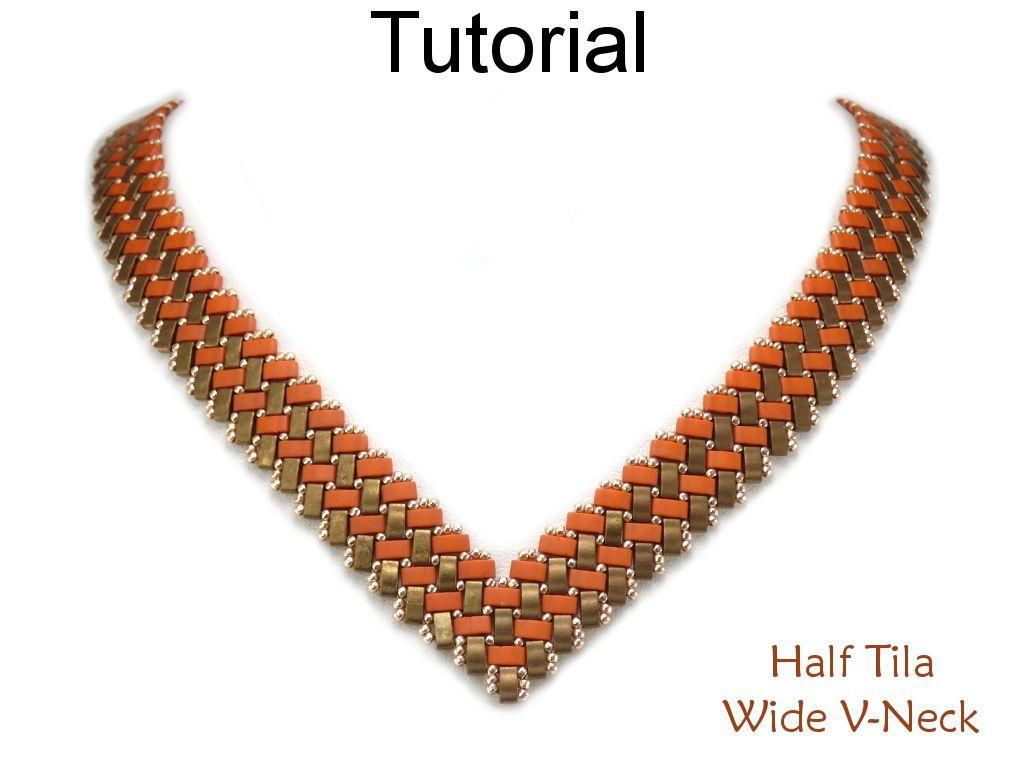V Shaped Beaded Necklace Tutorial With Half Tila Beads Beaded