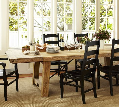 1699 Seats 12 Benchwright Reclaimed Wood Extending Dining Table Wax Pine Finish Pott Dining Table Redo Reclaimed Wood Dining Table Black Dining Chairs