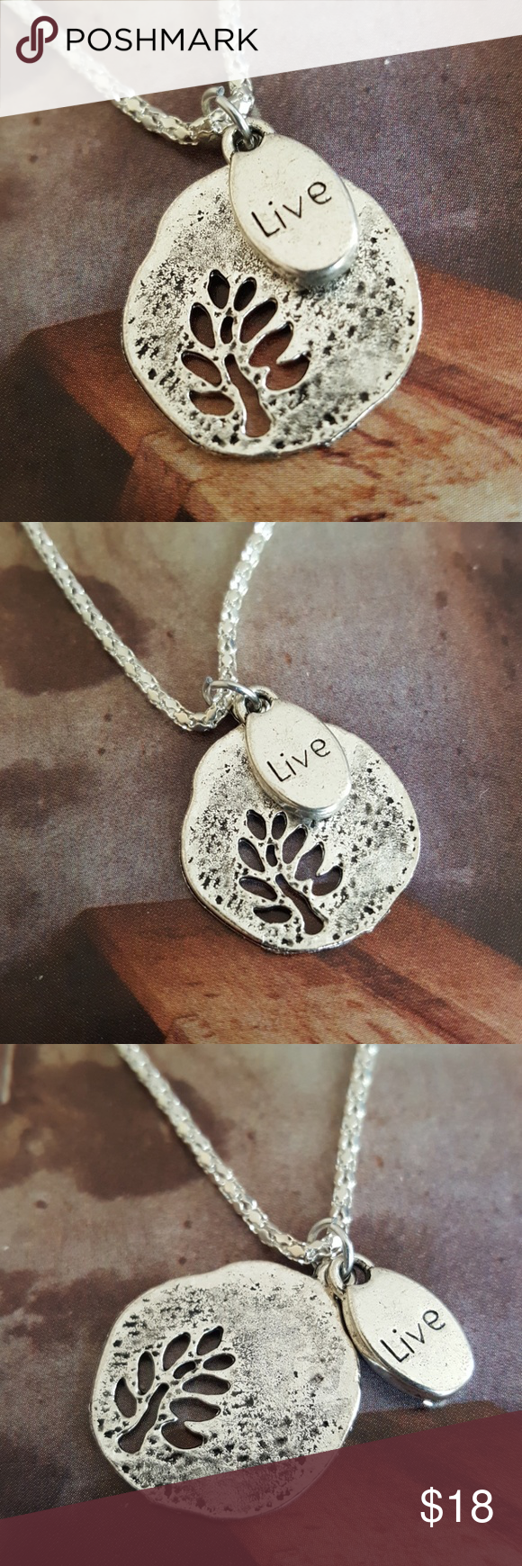 Live tree of life medallion silver necklace 16 in Nwt customizations available Jewelry Necklaces