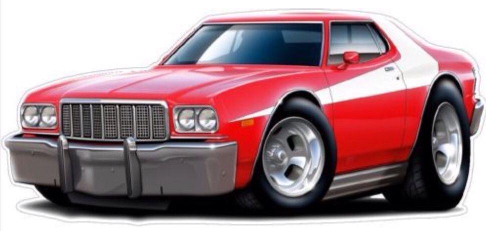 Starskys Gran Torino Car Cartoon Cars Movie Ford Torino