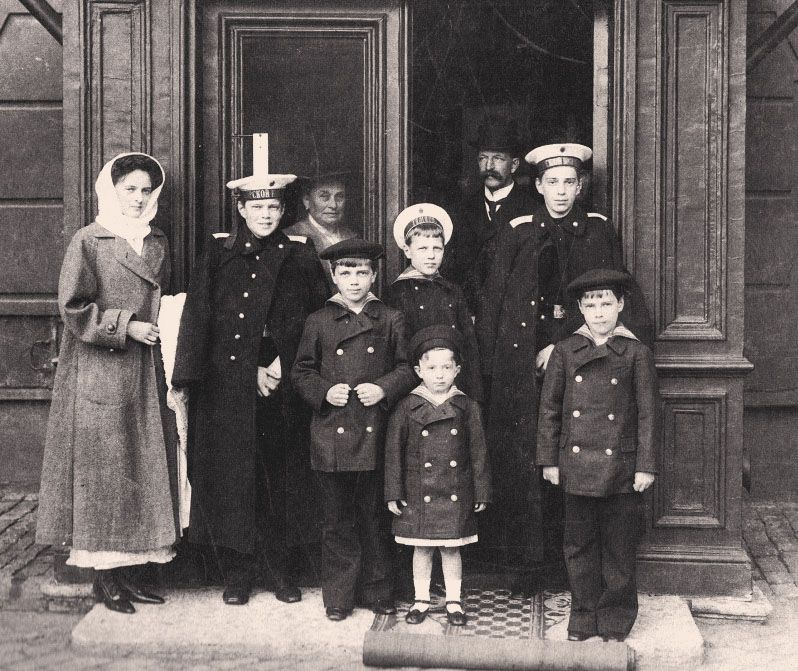 Children of Grand Duke Alexander Mikhailovich and Grand Duchess Xenia: Princess Irina and her brothers Andrei, Fyodor, Nikita, Dmitri, Rostislav and Vasili