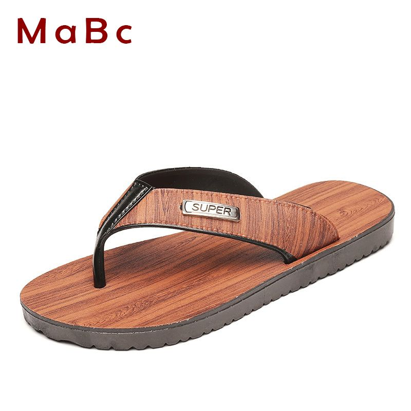$13.23 (Buy here: http://appdeal.ru/8s6j ) Fashion PVC Wood Texture Flip Flops Beach Casual Sandals Shoes Men Summer Slippers Slides Sandals Zapatillas Hombre Brand MS117 for just $13.23