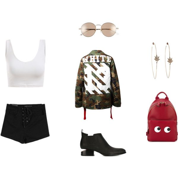 A fashion look from April 2016 by psychopie featuring Alexander Wang, Anya Hindmarch, Gucci i Off-White