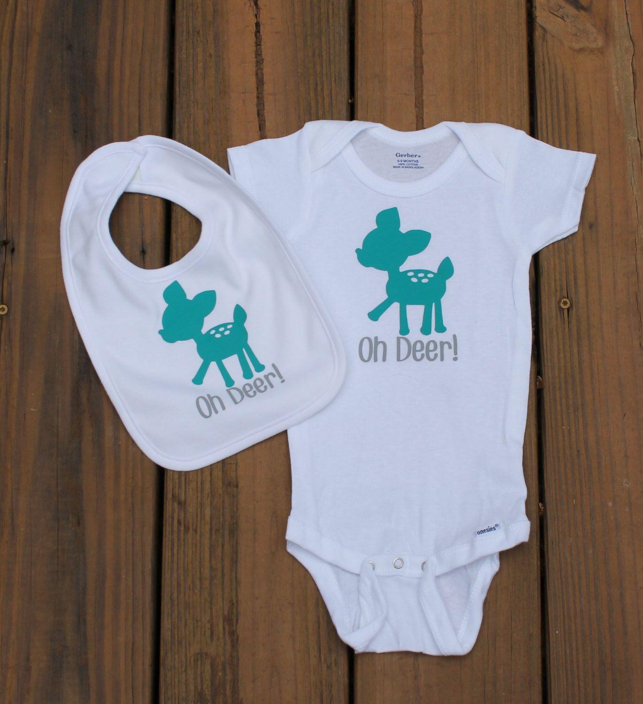 Oh Deer Onesie And Bib, Baby Deer, Baby Onesie, Personalized