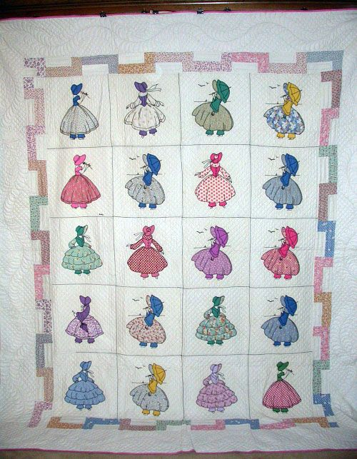 Antique quilt ~ Colonial ladies applique ~ Buckboardquilts.com #5366