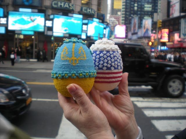 Beaded Easter Eggs Ukrainian and American Flags Handmade by Daria