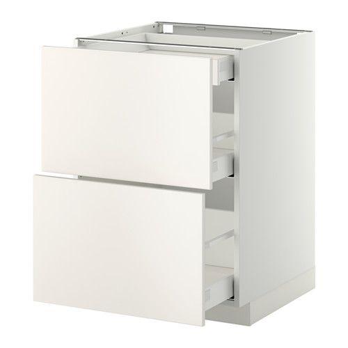 METOD/MAXIMERA Base cab with 2 fronts/3 drawers White/veddinge white