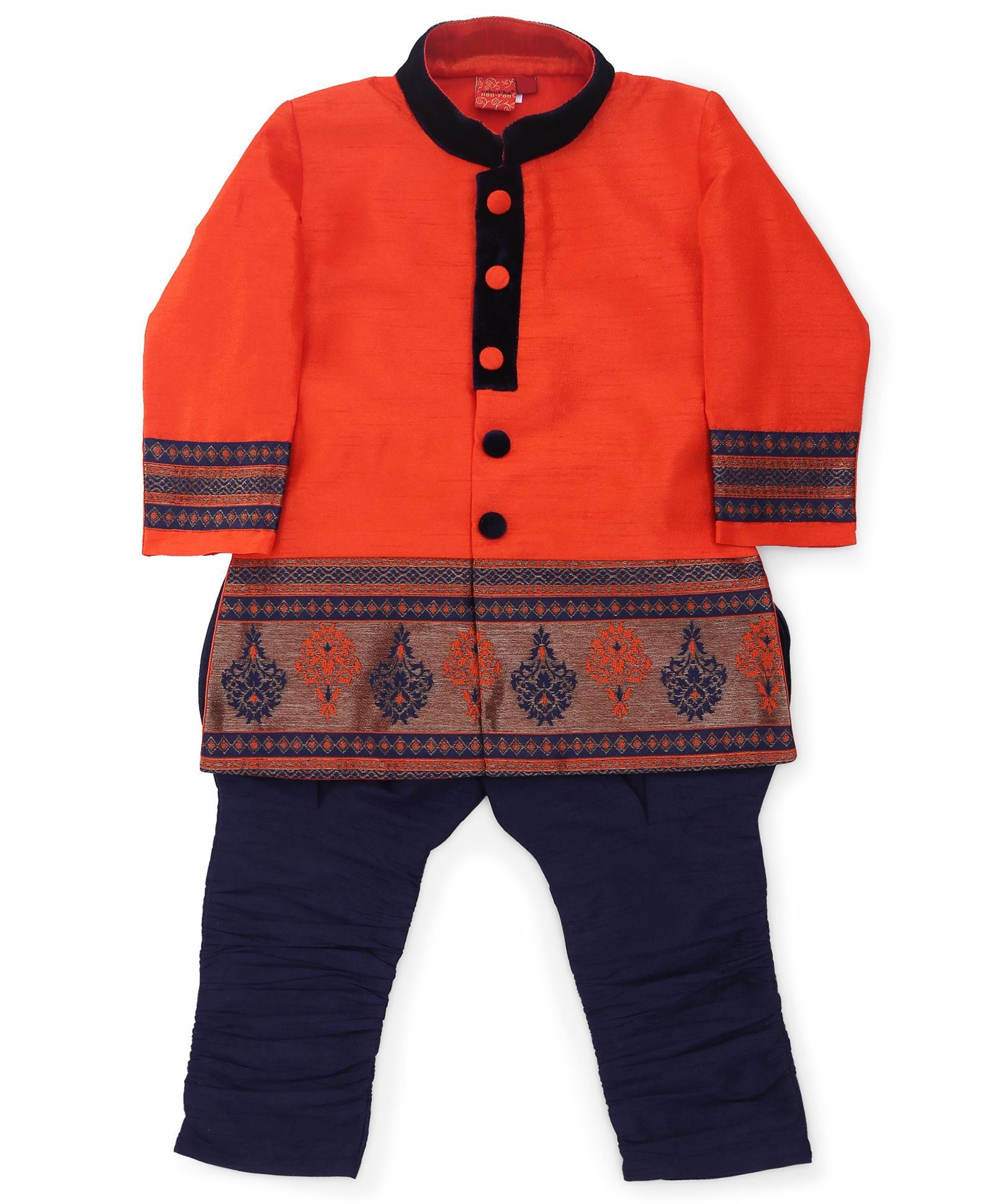 Buy Ethniks Neu Ron Full Sleeves Sherwani Orange Blue for Boys 3 4