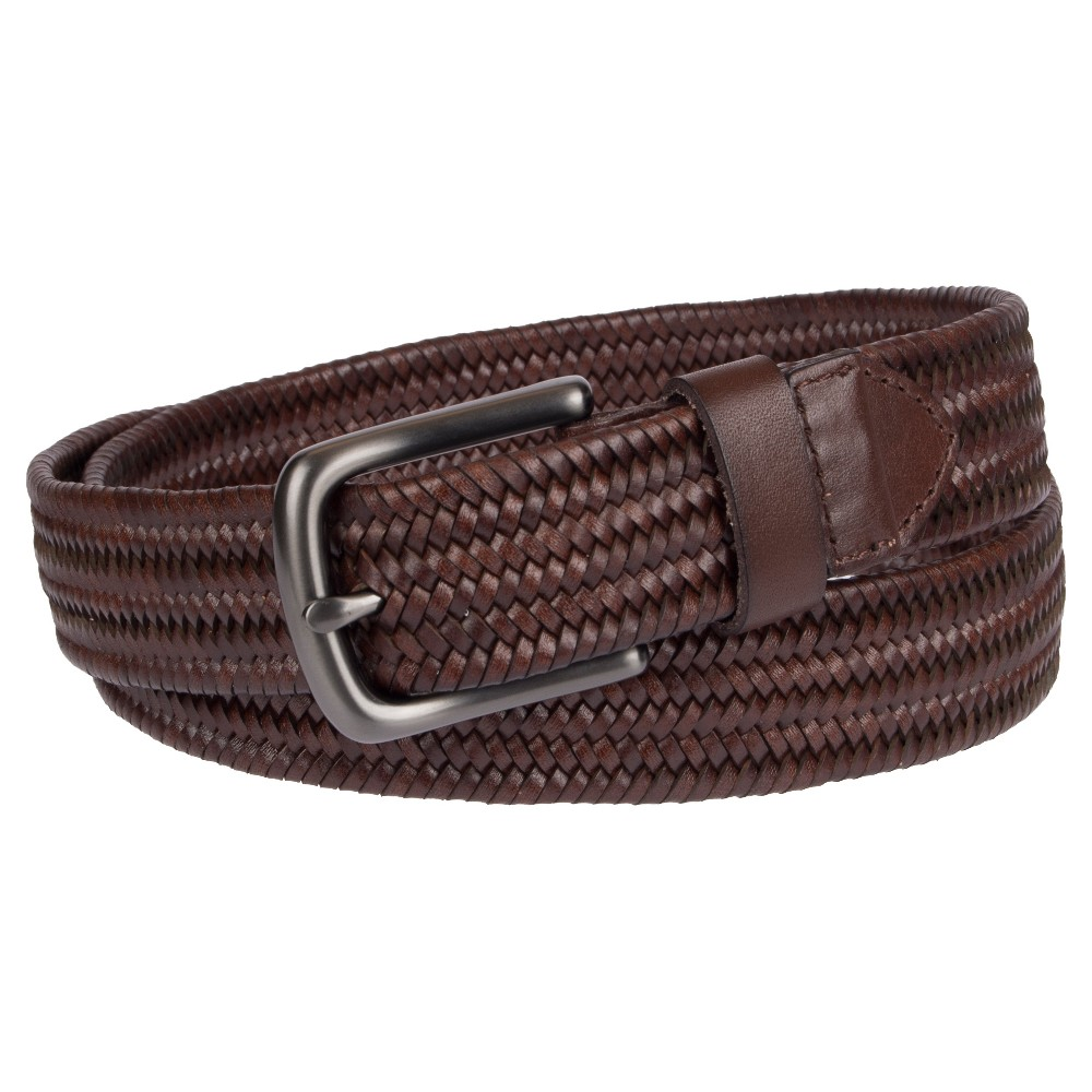 Woven Stretch Braided Elastic Leather Buckle Belt Waistband Belt Father Day Gift