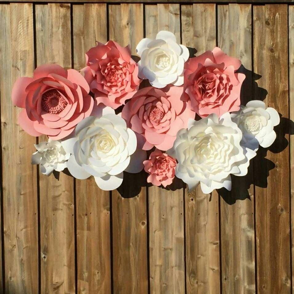 giant 3d paper flower wall backdrop large paper flowers. Black Bedroom Furniture Sets. Home Design Ideas