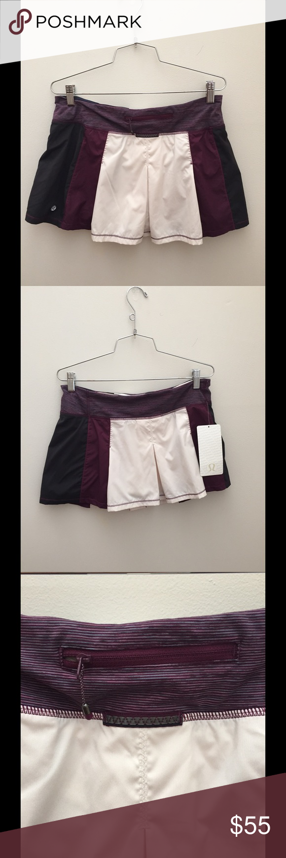 New Lululemon Skirt NWT Plum, Cream, and Black Lululemon Skirt Size 8. The Pleats in the skirt give you an extra range of movement. The thick waistband keeps the skirt in place and lies flat under your top. This item even comes with 2 hidden pockets in the waistband and 1 zipper pocket in the back. Lululemon Skirts