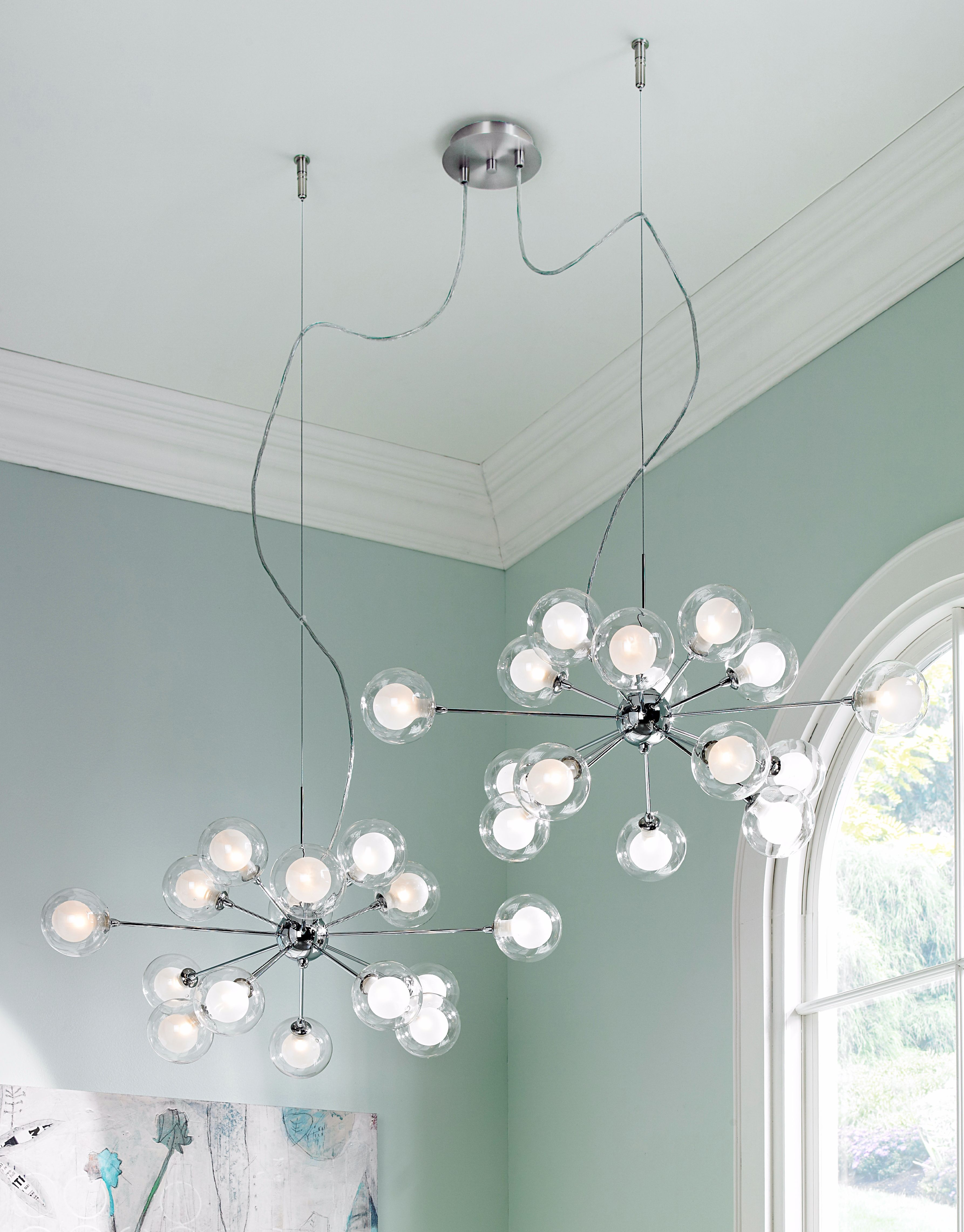 Glass Orbs Possini Euro Double Swag Chandelier