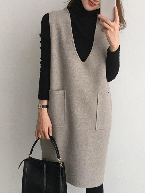 Robe droite deux pièces à col montant et poche fendue – Sebellamore.com   – Vestidos