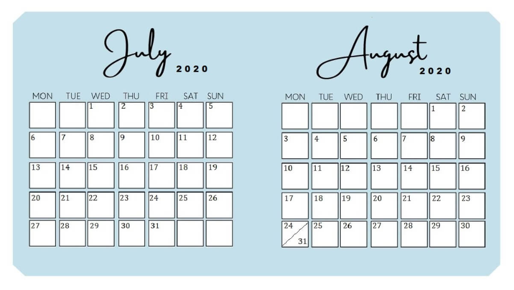 Cute Printable July And August 2020 Calendar Calendar Printables July Calendar August Calendar