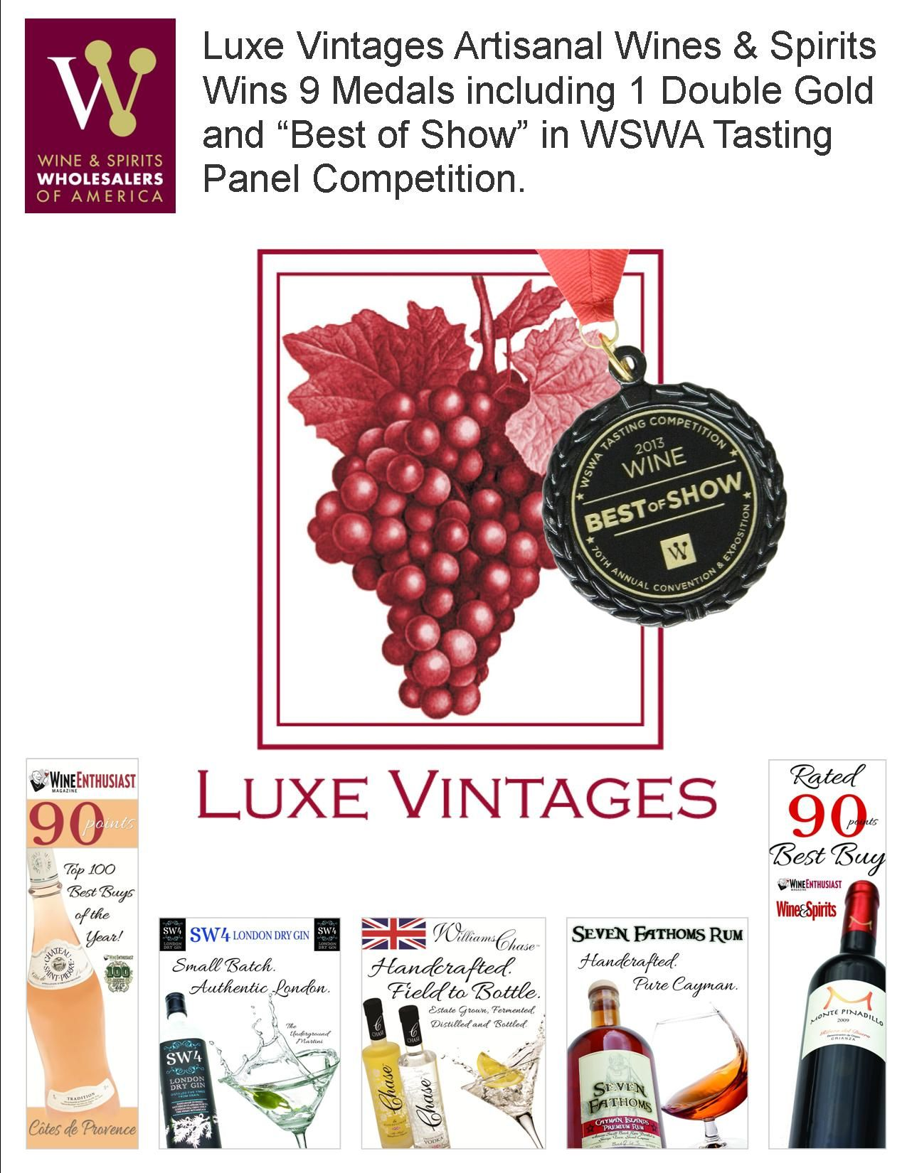 Luxe Vintages Artisanal Wines Spirits Wines 9 Medals Including 1 Double Gold And Best Of Show In Wswa Convention Wine And Spirits Wines Cool Things To Buy