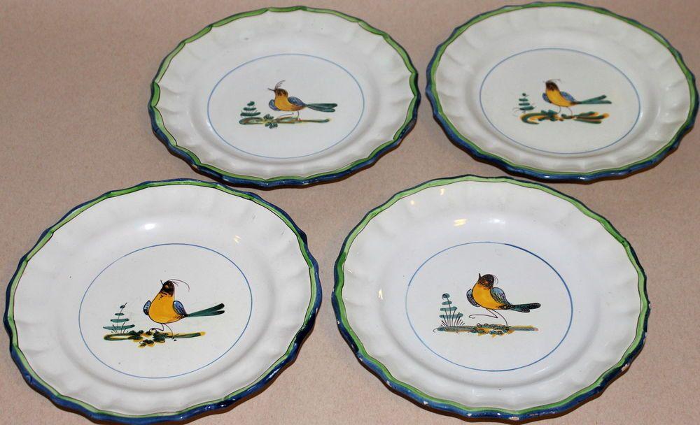 Cantagalli Set 4 Old Antique Italian Art Pottery Faience Majolica Bird Plates 8\  & Cantagalli Set 4 Old Antique Italian Art Pottery Faience Majolica ...