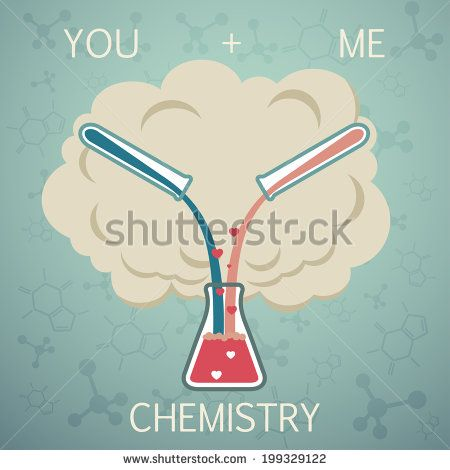 You and me it is chemistry. Chemistry of Love. Vector background - stock vector