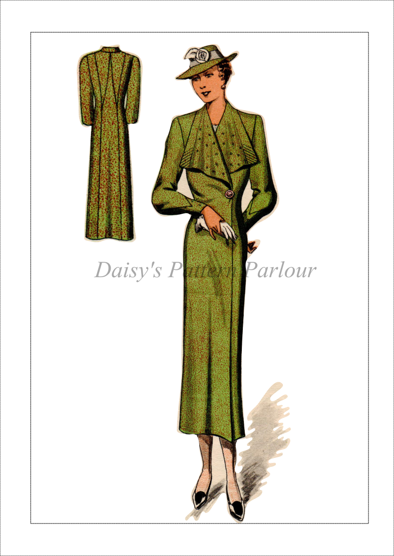 Vintage Sewing Pattern 1930s Long Coat Shawl Collar Haslam System ...