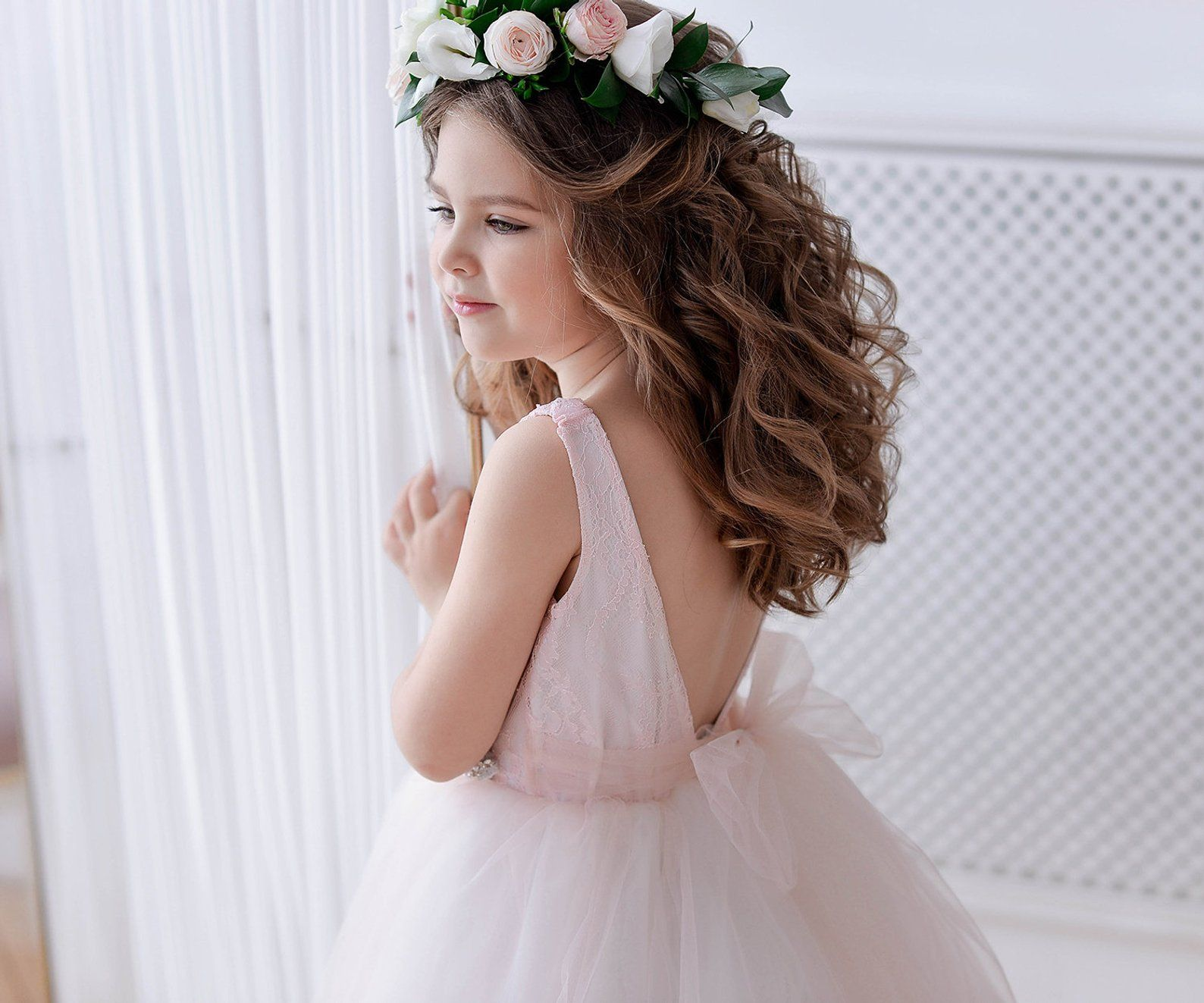 Blush flower girl dress tulle pink bridesmaid dress baby