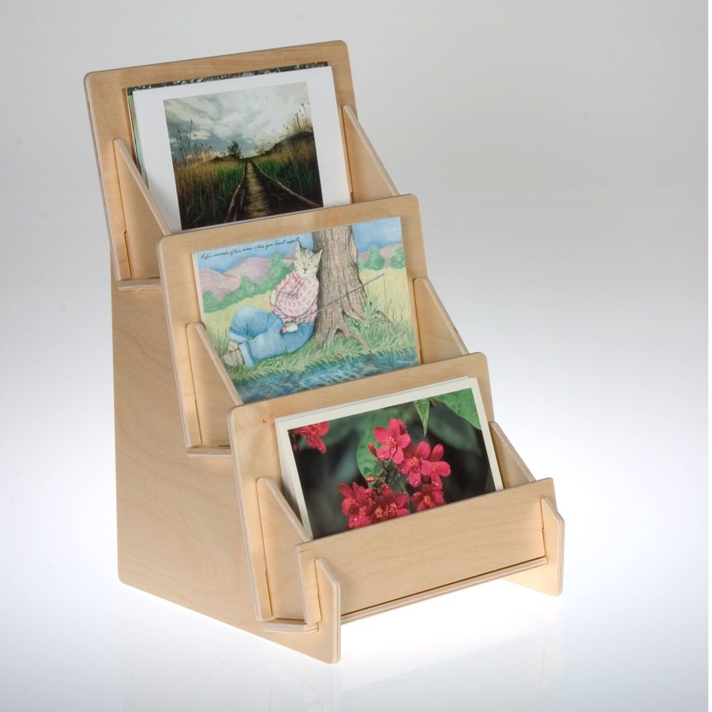 4323 Birch Wooden 3 Three Tier Greeting And Postcard Holder For