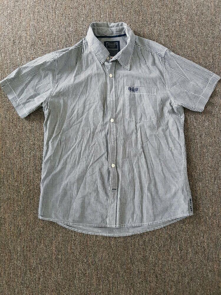 412b0a3a360 Ambrose and Jackson Mens Short Sleeve Shirt UK L Checked Navy Blue ...
