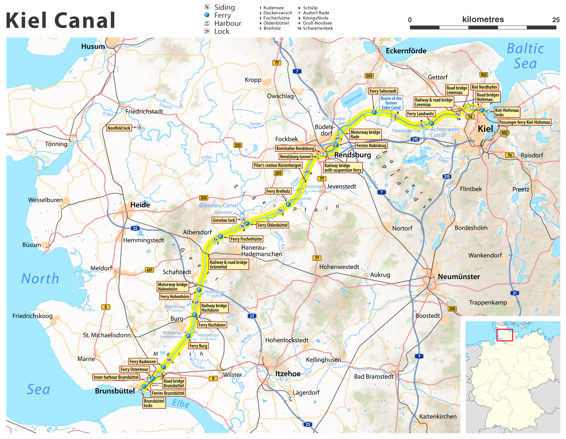 Map of Kiel Canal Germany SchleswigHolstein Geography
