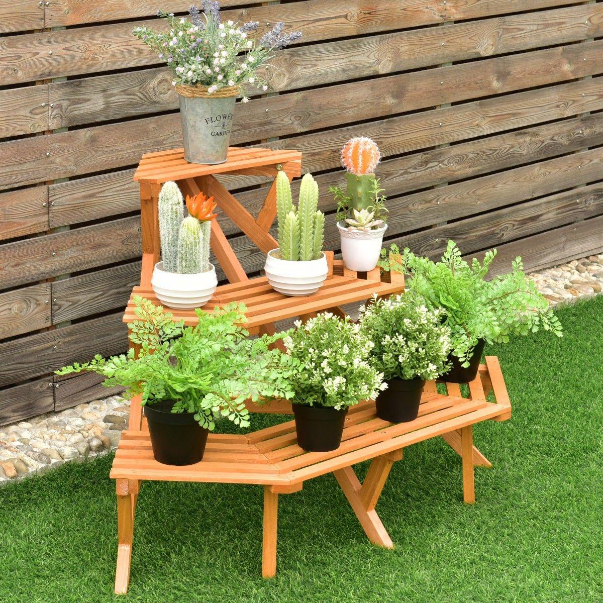3 Tier Wood Corner #Plant Ladder Pot Holder Rack | Home & Garden ...