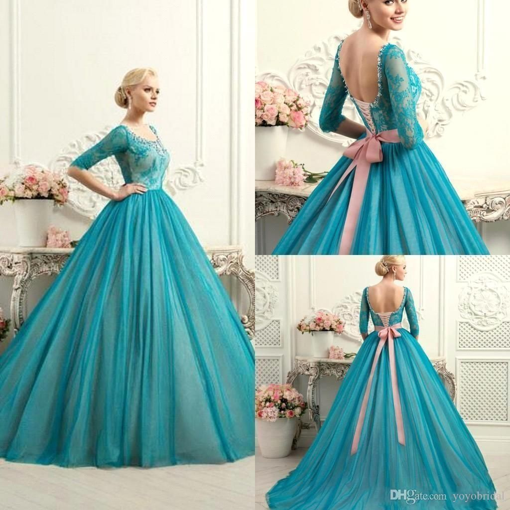 Modest teal quinceanera dresses square neck half long sleeves lace