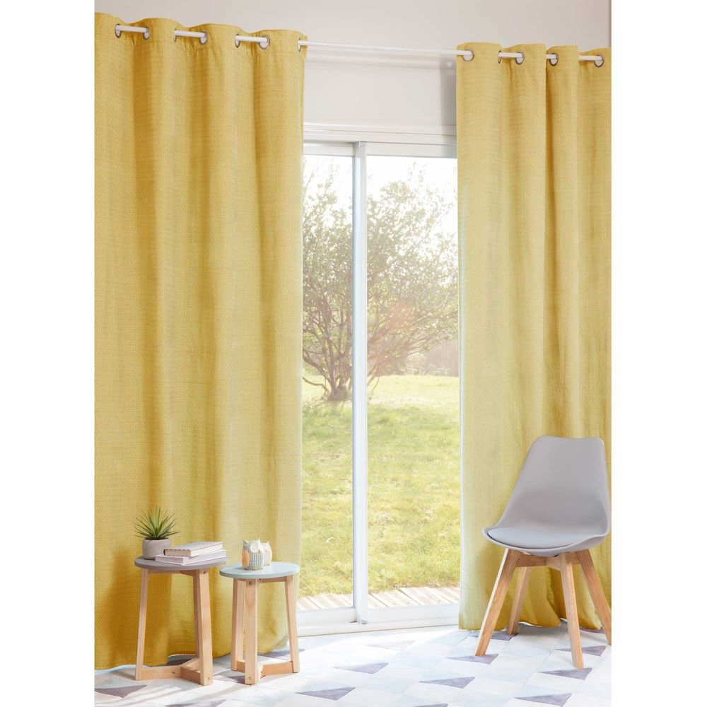 Yellow Eyelet Curtains, Curtains, Soft