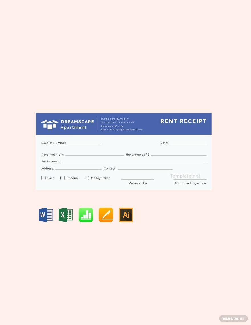 Simple Apartment Rent Receipt Template Free Pdf Google Docs Google Sheets Excel Word Template Net Receipt Template Simple Apartments Planner Template